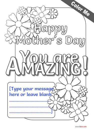 coloring poster for mothers day free to print with fillable text.