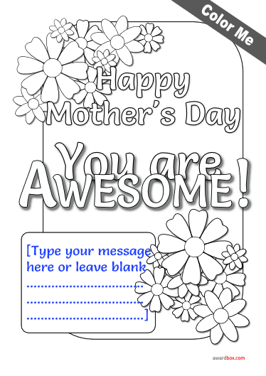 free color me mothers day certificate with flowers and editable text.