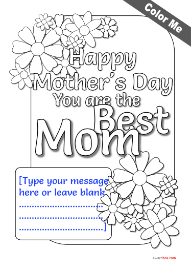 free coloring poster for mothers day with flower design and printable cusotm text.
