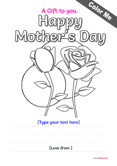 free coloring certificate template for mothers day