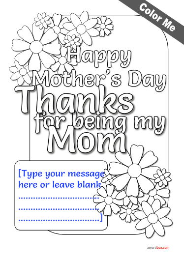 busy design of flowers moms day certificate template for coloring with editable text