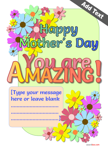 Amazing mothers day certificate award poster with brightly colored flowers and editable text.