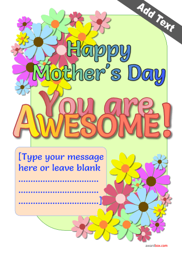 printable mums day certificate template with colourful background for free download.