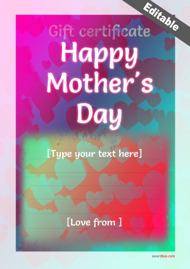 free printable mothersday certificate with fillable text.