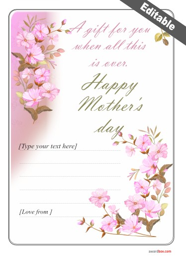 A flowery moms day certificate template design in pink with editable text printable at home or proffesionally.
