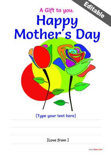 two rose design mothers day certificate fully editable free to print and download.