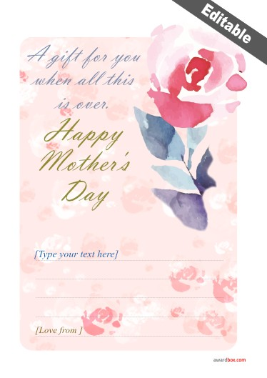 a delicate pink flower mothers day certificate design with editable text for free download and print